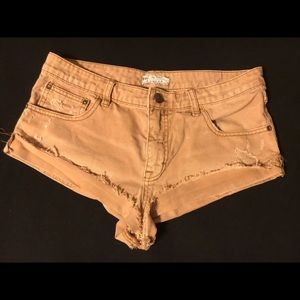 Free people brown distressed cuffed shorts 28